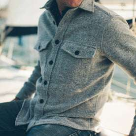 The Maritime Shirt Jacket in Ash Donegal Lambswool: Alternate Image 4