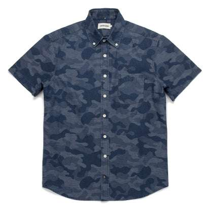 The Short Sleeve Jack in Indigo Jacquard Camo
