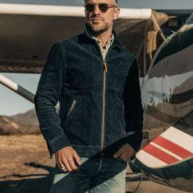 our fit model wearing The Piston Jacket in Indigo Corduroy
