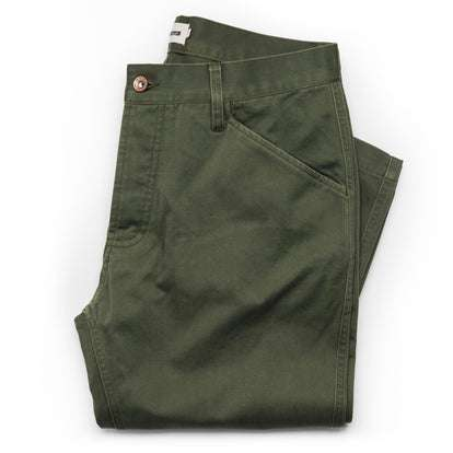 The Camp Pant in Olive Reverse Sateen