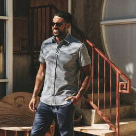 our fit model wearing The Short Sleeve California in Slate Cord
