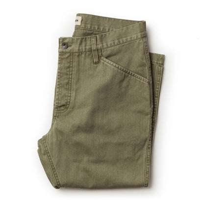 The Camp Pant in Olive Herringbone
