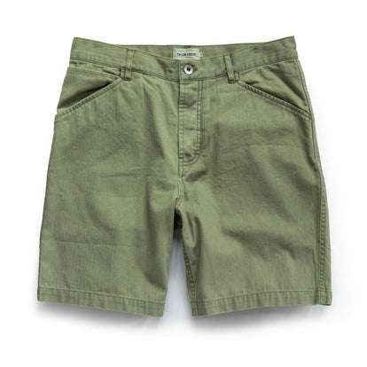 The Camp Short in Olive Herringbone