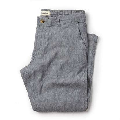 The Easy Pant in Navy Linen Herringbone