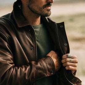 fit model wearing The Hangar Jacket in Espresso, hand in jacket interior
