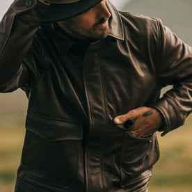 fit model wearing The Hangar Jacket in Espresso, hand in front pocket