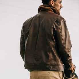 fit model wearing The Hangar Jacket in Espresso, back shot