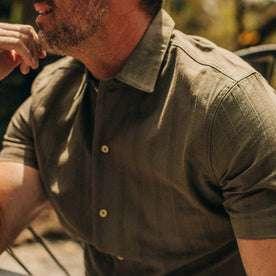 fit model wearing The Havana in in Olive Jacquard Stripe, chest detail