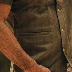 fit model wearing The Havana in in Olive Jacquard Stripe, side pocket