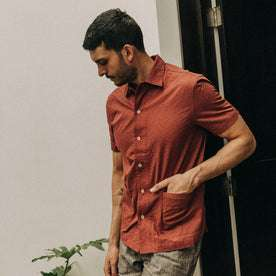 fit model wearing The Havana in Rusted Floral Jacquard, left hand in front pocket