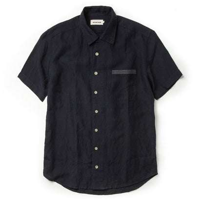 The Short Sleeve Hawthorne in Navy and Natural