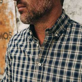 fit model wearing The Jack in Marino Plaid, cropped shot of collar