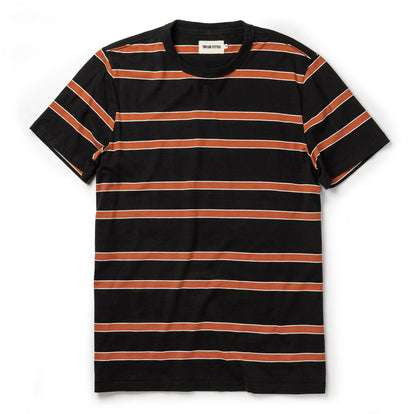 The Organic Cotton Tee in Coal and Rust Stripe