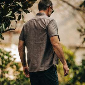 fit model wearing The Short Sleeve Jack in Cocoa Dobby, back shot