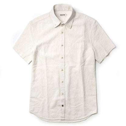 The Short Sleeve Jack in Natural Ramie Grid
