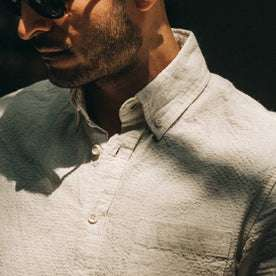 fit model wearing flatlay of The Short Sleeve Jack in Natural Ramie Grid, cropped shot of collar and chest