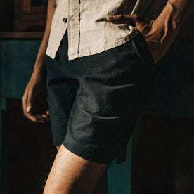 fit model wearing The Trail Short in Navy Reverse Sateen, cropped up close, left hand in pocket