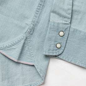 material shot of selvage detailing and pearl snap buttons