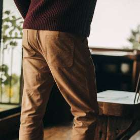 fit model wearing The Camp Pant in Tobacco Boss Duck, back