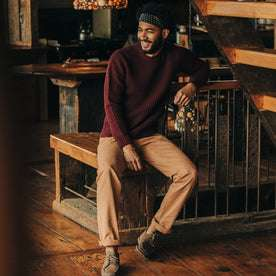 fit model wearing The Camp Pant in Tobacco Boss Duck, looking left