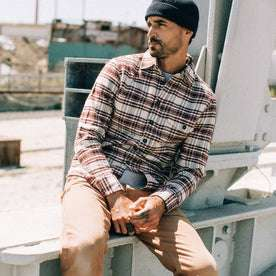 fit model wearing The Crater Shirt in Ivory Plaid, looking left