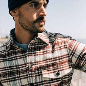 fit model wearing The Crater Shirt in Ivory Plaid, up close, looking right