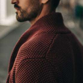 fit model wearing The Crawford Sweater, shoulder