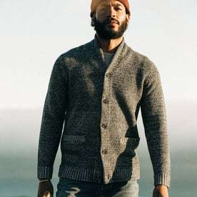 fit model wearing The Crawford Sweater, looking into camera