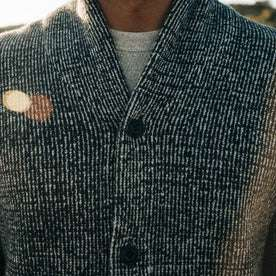 fit model wearing The Crawford Sweater, chest