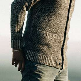 fit model wearing The Crawford Sweater, pocket
