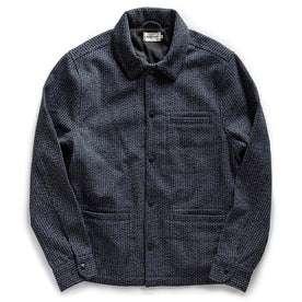 flatlay of The Decker Jacket in Navy Wool Beach Cloth