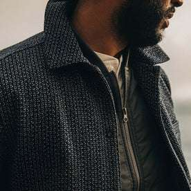 fit model wearing The Decker Jacket in Navy Wool Beach Cloth, chest detail