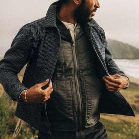 fit model wearing The Decker Jacket in Navy Wool Beach Cloth, opening jacket