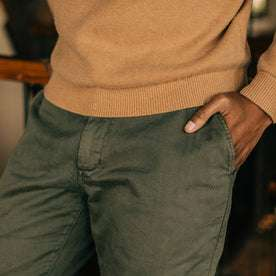 fit model wearing Foundation Pant, hand in pocket