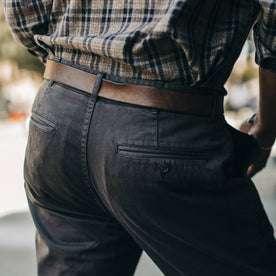 fit model wearing Foundation Pant, back