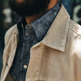 fit model wearing The Dispatch Jacket in Khaki Cord, collar detail