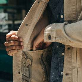 fit model wearing The Dispatch Jacket in Khaki Cord, pocket detail