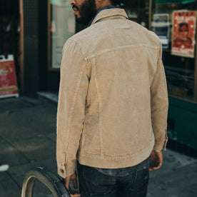 fit model wearing The Dispatch Jacket in Khaki Cord, back shot