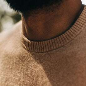 fit model wearing The Double Knit Sweater in British Khaki, collar detail