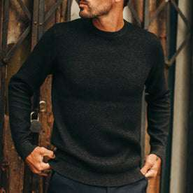 fit model wearing The Double Knit Sweater in Charcoal, cropped nose down