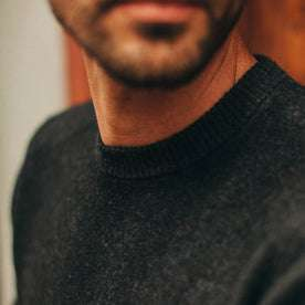 fit model wearing The Double Knit Sweater in Charcoal, collar detail