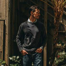 fit model wearing The Fillmore Crewneck in Coal Terry, hands in pockets