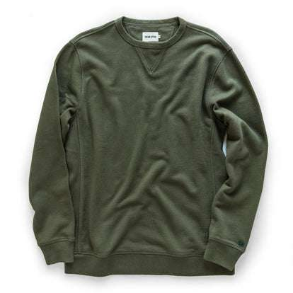 The Fillmore Crewneck in Dark Olive Terry