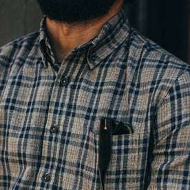 fit model wearing The Jack in Sand Plaid, chest shot