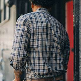 fit model wearing The Jack in Sand Plaid, back