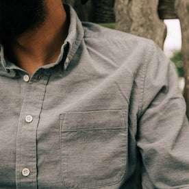 fit model wearing The Jack in Slate Cord, pocket detail