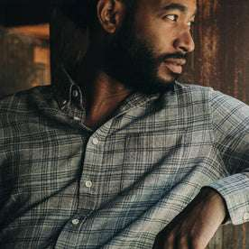 fit model wearing The Jack in Slate Plaid, looking right