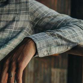 fit model wearing The Jack in Slate Plaid, sleeve up close shot