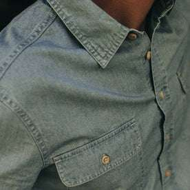 fit model wearing The Ledge Shirt in Sun Bleached Chambray, chest detail