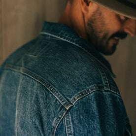 fit model wearing The Long Haul Jacket in 18 Month Wash Organic Selvage, shoulder